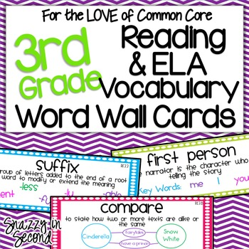Reading  ELA Vocab Cards for 3rd Grade {Common Core} TpT - vocab cards