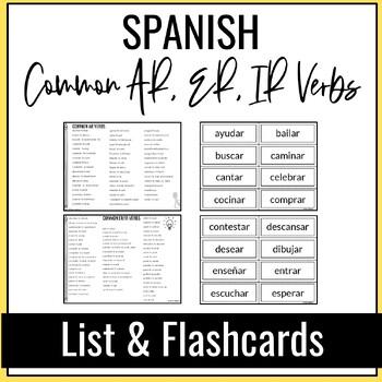 Common SPANISH AR, ER, IR Verbs List by Stacy\u0027s Place TpT - verbs list