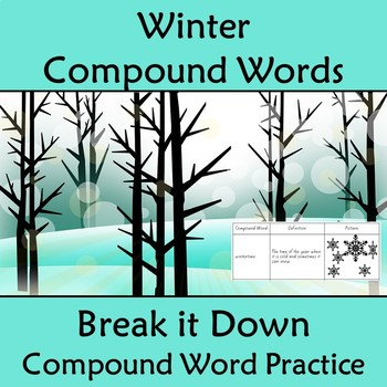 Compound Words Worksheet Winter Themed Words by Kiwiland TpT