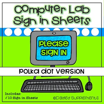 Computer Lab Sign In Sheet - 10 Bright Colors by Dayley Supplements