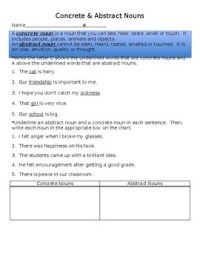 Concrete & Abstract Nouns Worksheet by Teacherology | TpT