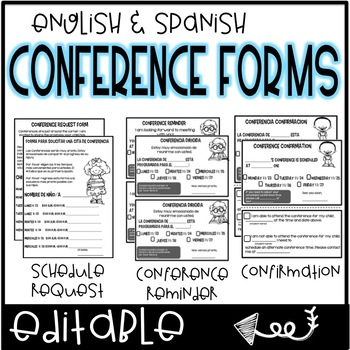 Conference Forms English  Spanish by Teach with Hope TpT