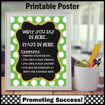 Green Polka Dot School Counselor Confidentiality Sign 8x10 16x20