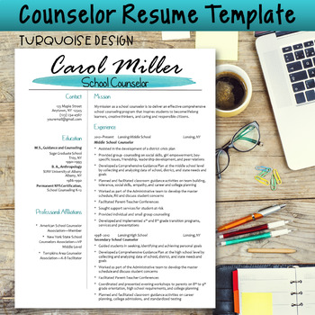 Counselor Resume Template--Turquoise Design TpT