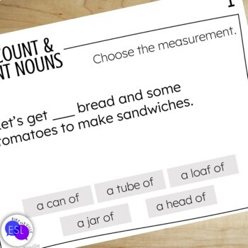 Count  Noncount Nouns (Task Cards) by Rike Neville TpT - count and noncount nouns esl
