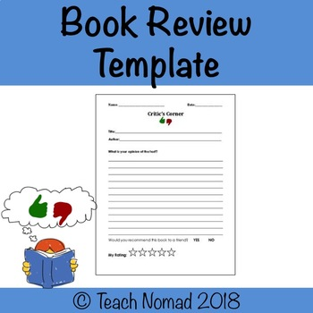 Book Review Template by Teach Nomad Teachers Pay Teachers