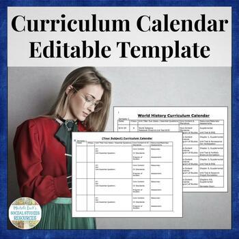 Curriculum Calendar or Map Template by Michele Luck\u0027s Social Studies - curriculum planning template