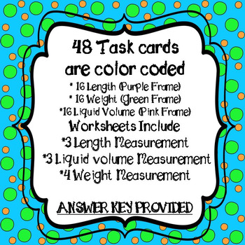 Customary Measurement Task Cards and 10 *NO PREP Worksheets