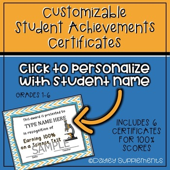 Student Achievement Award Certificates - Editable and Printable TpT