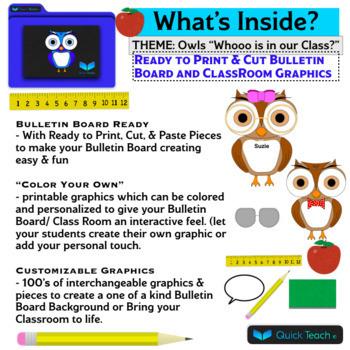 Customizable Owl Themed Bulletin Board/ Class Room Decor by Quick Teach