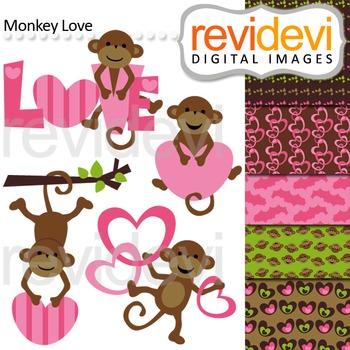 Cute monkey clip art (pink, brown, heart, love) clipart by revidevi