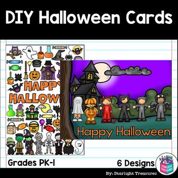DIY Halloween Coloring Cards by Starlight Treasures TpT