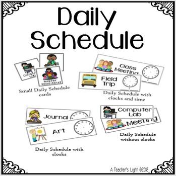Daily Agenda Schedule Cards by A Teacher\u0027s Light TpT