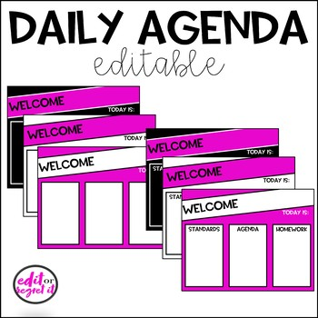 Daily Agenda Template - Pink, Black, and White by Edit or Regret It