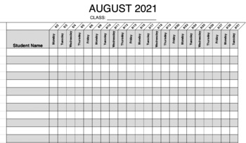 Daily Attendance Sheets 2018-2019 by Miss Borsani TpT