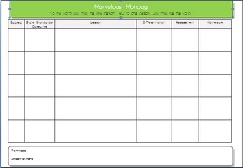 Daily Lesson Plan Microsoft Word Template 5 Subjects
