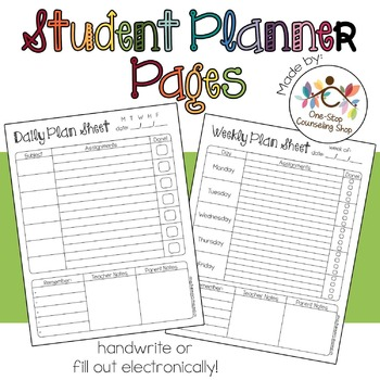Daily, Weekly,  Monthly Student Planner Pages by One-Stop - weekly planner pages