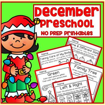 December Christmas Winter Preschool Printable Packet NO PREP