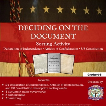 Declaration of Independence, Articles of Confederation,  Constitution