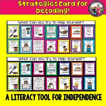 Decoding Strategies Card! Great Visuals! Create Independence! TpT