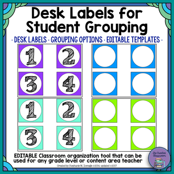 Desk Number Labels for Student Grouping by The Creative Classroom