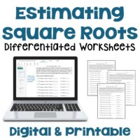 Estimating Square Roots Differentiated Worksheets by