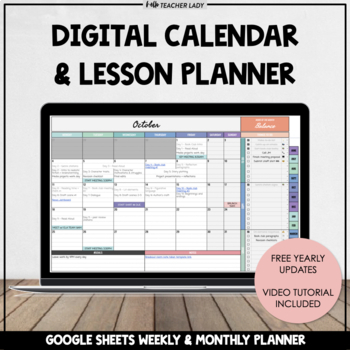 Digital Monthly Calendar Templates Google Sheets Planner  To-Do Lists