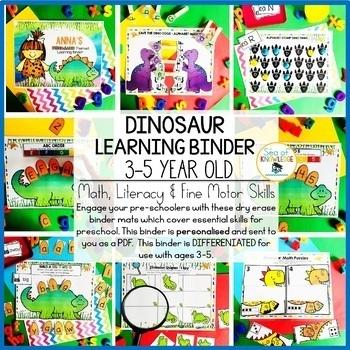 Dinosaur Printable Learning Busy Book Preschool Age 3-5 - CUSTOM