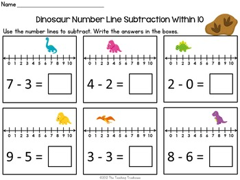 Dinosaur Number Line Addition Subtraction Within 10 By