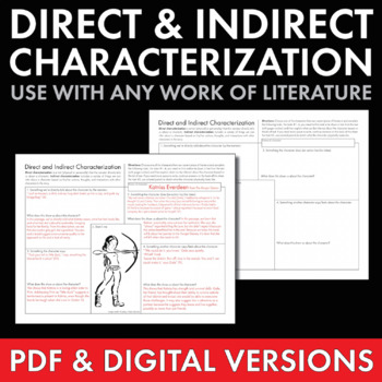 Direct  Indirect Characterization, Fun Print-and-Teach Handout, Use