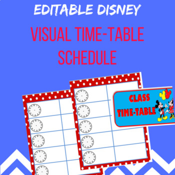 Disney Class Time Table Schedule by Miss Jade\u0027s Resource Box TpT