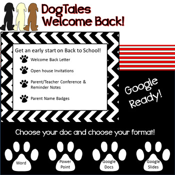 DogTales - welcome back letter with open house, and P/T conference