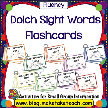 Sight Words - Dolch 220 Sight Words Flashcards by Make Take Teach - dolch sight word flashcards