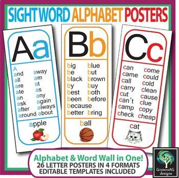 Sight Word Alphabet Posters - All 26 letters (phonics, word wall - word alphabets