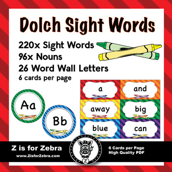 Dolch Sight Word Flash Cards  Nouns 316 cards - Crayon theme by Z - dolch sight word flashcards