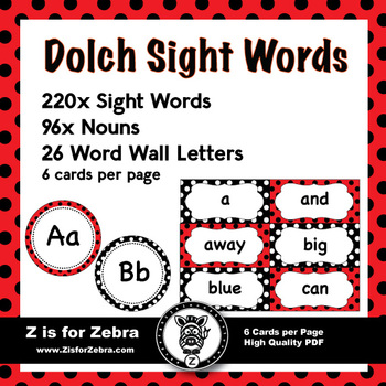 Dolch Sight Word Flash Cards  Nouns 316 cards - Ladybug Theme TpT - dolch sight word flashcards