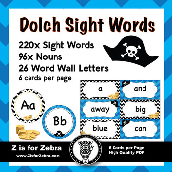 Dolch Sight Word Flash Cards  Nouns 316 cards - Pirate Theme by Z - dolch sight word flashcards