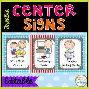 HUGE FREEBIE Center Signs {EDITABLE} by Loving Math TpT