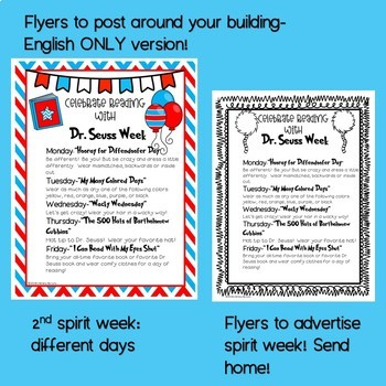 SPIRIT WEEK!! Editable templates and flyers! by Literacy by Lulu