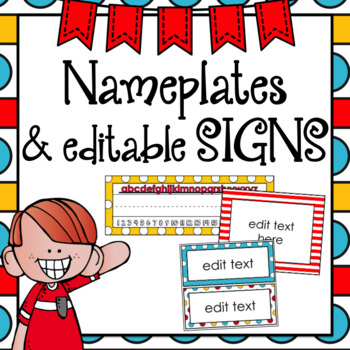 Nameplates Editable Class Signs Whimsical Classroom Decor by