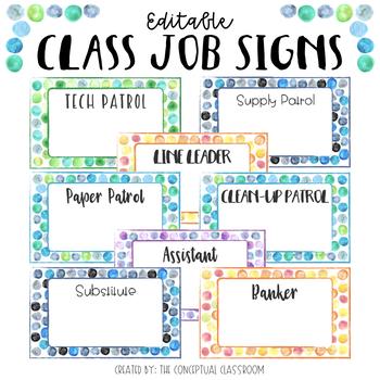 EDITABLE Dot Watercolor Classroom Job Signs by The Conceptual Classroom