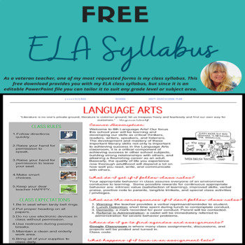 EDITABLE Language Arts Syllabus TpT - syllabus template