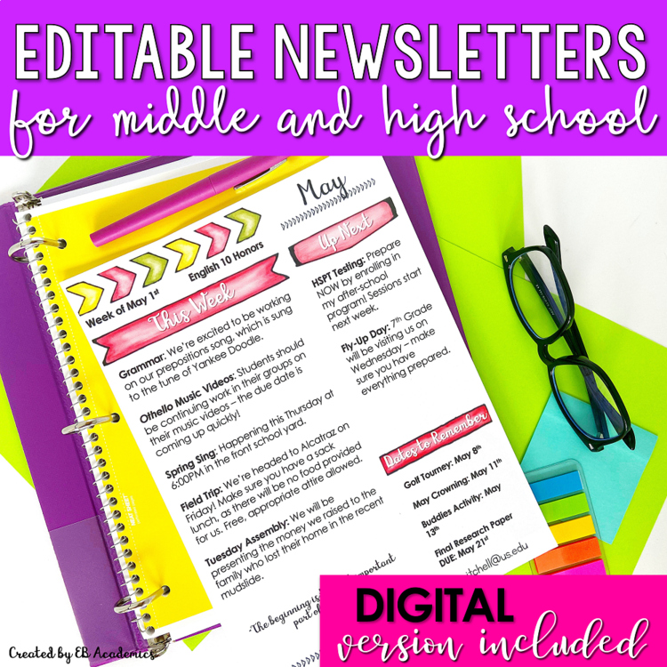 school monthly newsletter templates