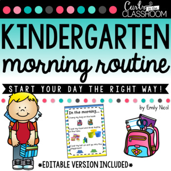 EDITABLE Morning Routine Poster by Curls in the Classroom TpT