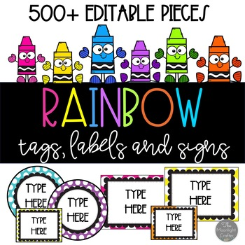 EDITABLE RAINBOW THEME ❤ Tags Labels and Signs by moonlight