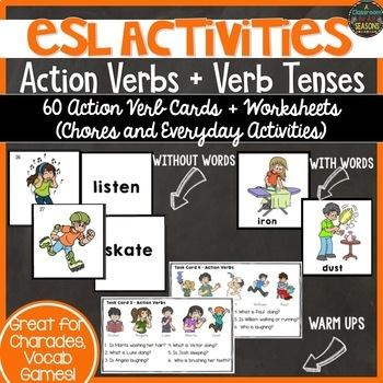 ESL Activities Action Verbs and Verb Tenses by A Classroom for All