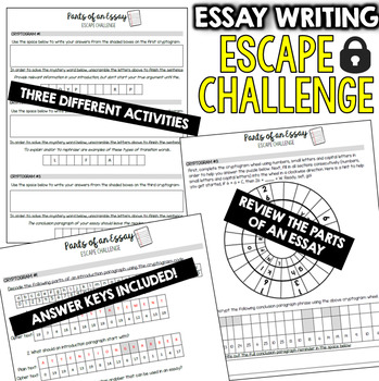 ESSAY Escape Room (Activities, Trivia  Puzzle Games for Students) - parts of an essay