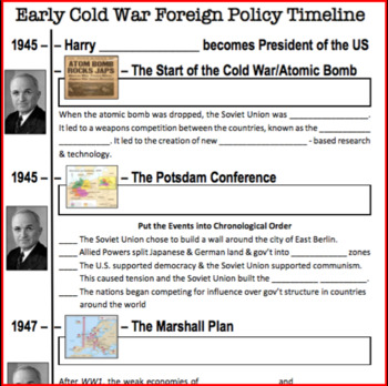 NEW! Early Cold War Review Timeline US History (1945-1961) TpT