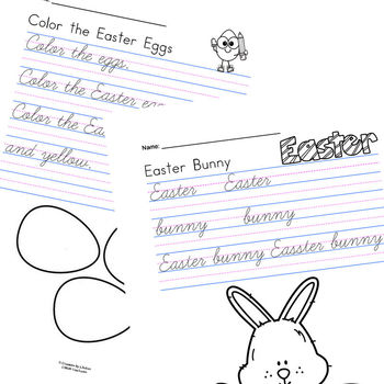 Easter Cursive Handwriting Sheets for 2nd and 3rd Grades TpT