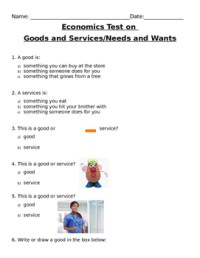 Goods And Services Worksheet First Grade. Goods. Best Free